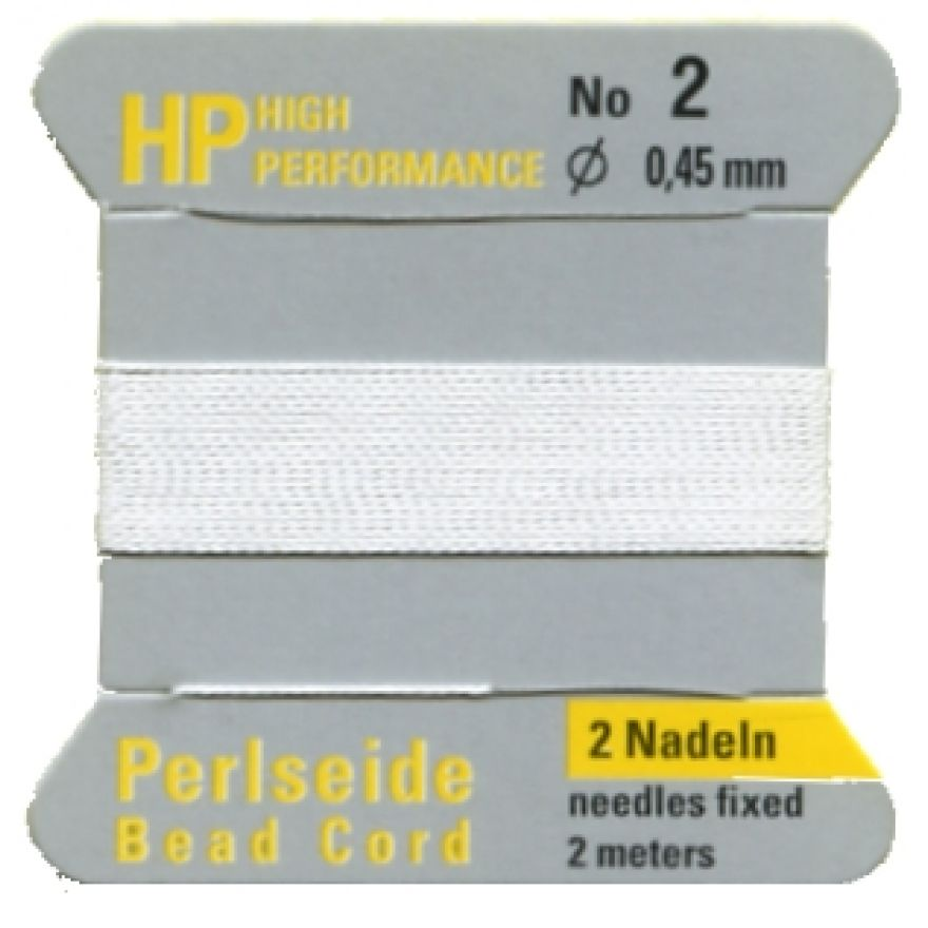 Perlseide High Performance  0,3 bis 0,9 mm  weiß mit 2 Nadeln 1,00€//M